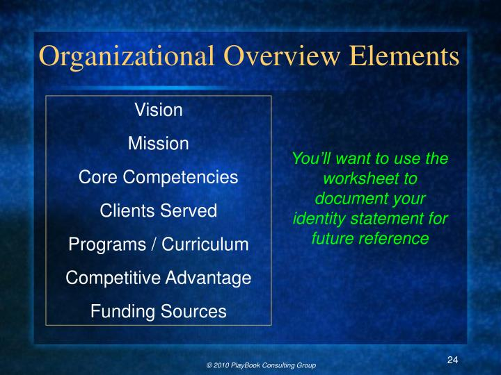Organizational Overview Elements