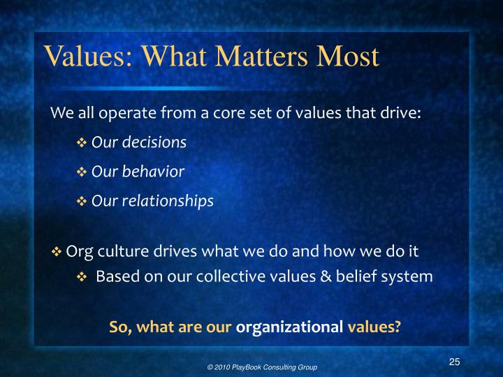 Values: What Matters Most