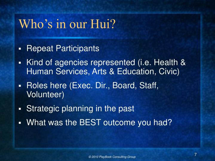 Who's in our Hui?