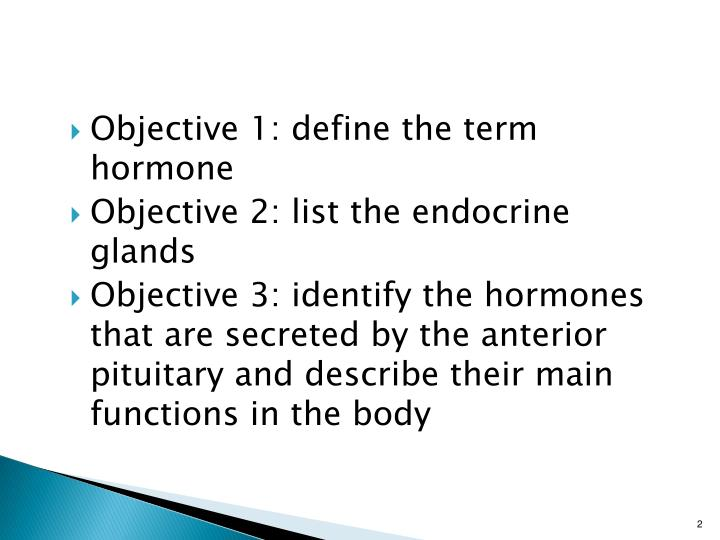 Objective 1: define the term hormone