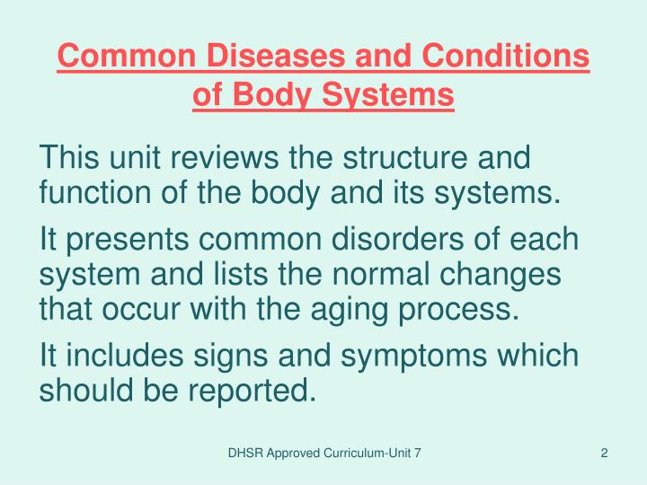 Common diseases and conditions of body systems