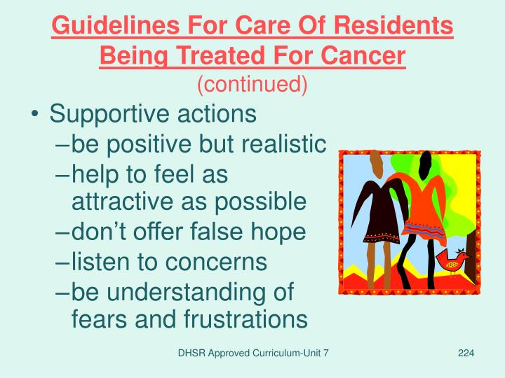 Guidelines For Care Of Residents Being Treated For Cancer