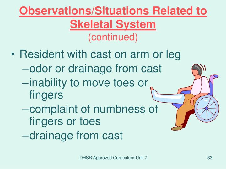 Observations/Situations Related to Skeletal System
