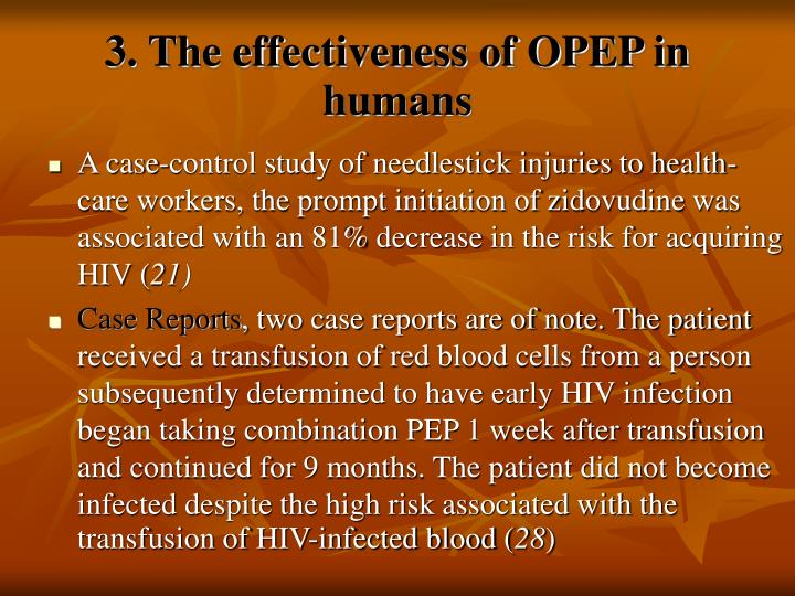 3. The effectiveness of OPEP in humans