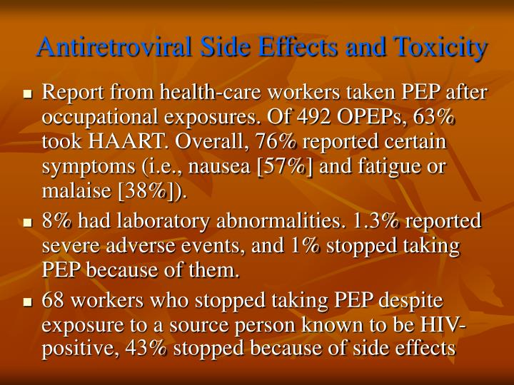 Antiretroviral Side Effects and Toxicity