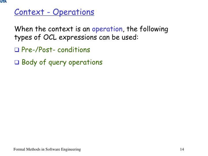 Context - Operations