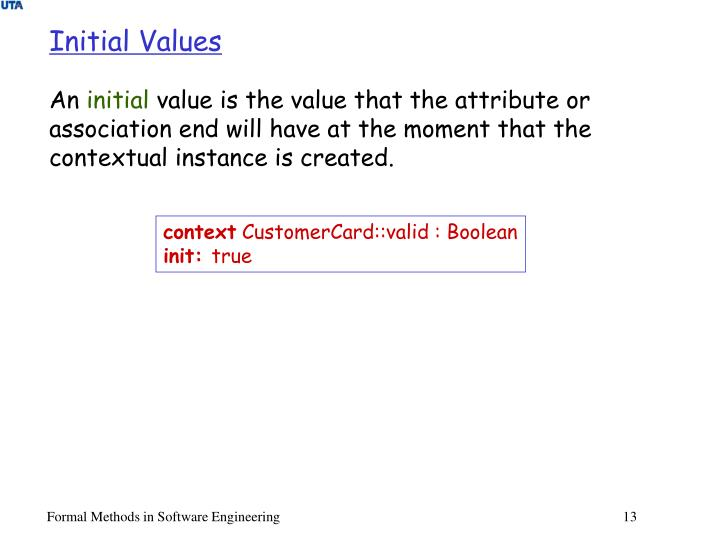 Initial Values