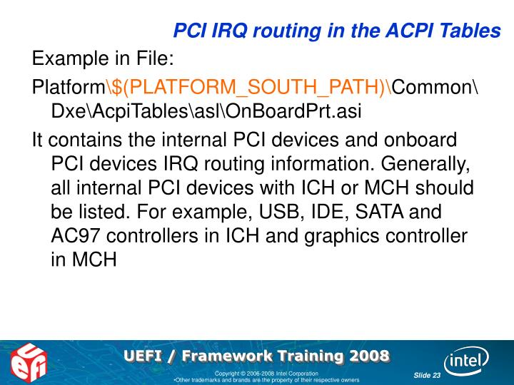 PCI IRQ routing in the ACPI Tables