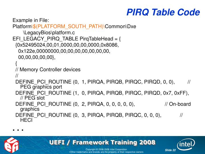 PIRQ Table Code