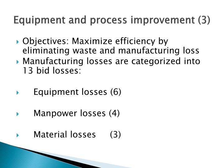 Equipment and process improvement (3)