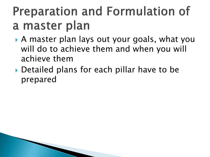 Preparation and Formulation of a master plan