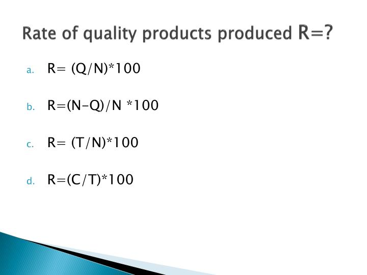 Rate of quality products produced