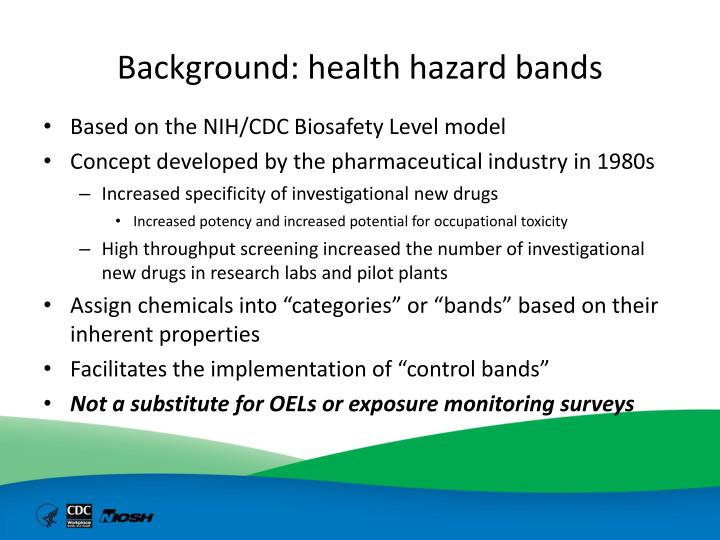 Background: health hazard bands