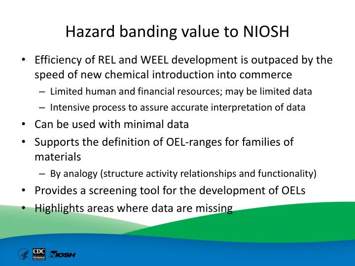 Hazard banding value to NIOSH