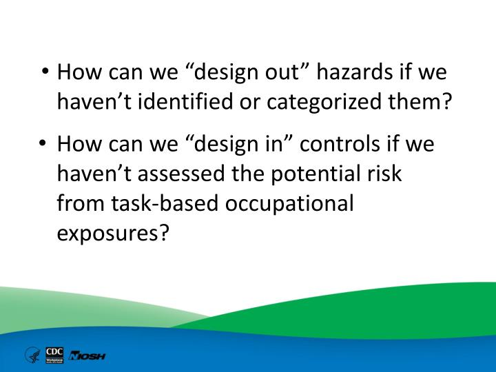 "How can we ""design out"" hazards if we haven't identified or categorized them?"