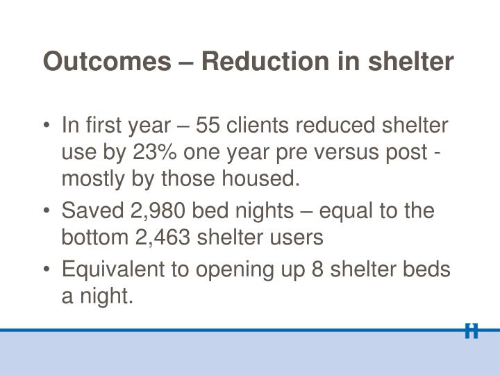 Outcomes – Reduction in shelter