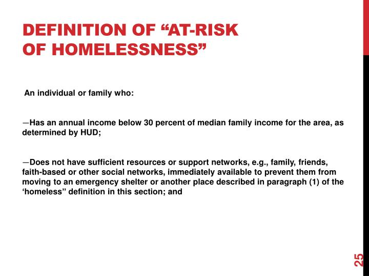 "Definition of ""at-risk of homelessness"""