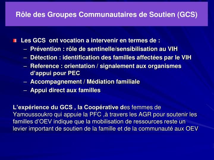 Rôle des Groupes Communautaires de Soutien (GCS)