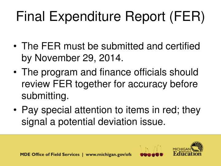 Final Expenditure Report (FER)
