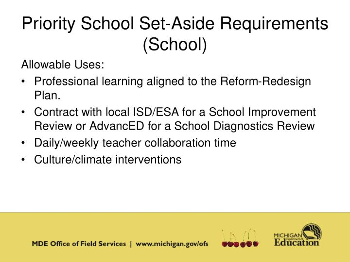 Priority School Set-Aside Requirements