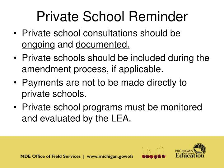 Private School Reminder