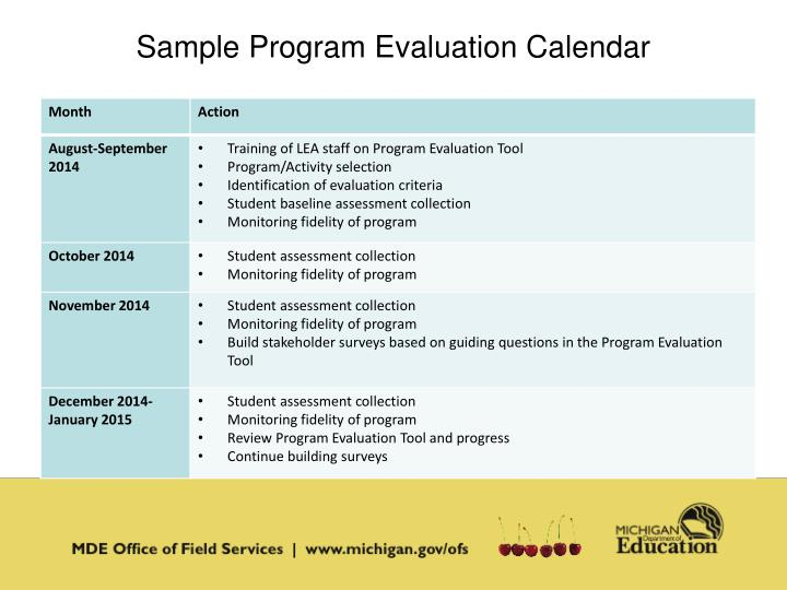 Sample Program Evaluation Calendar