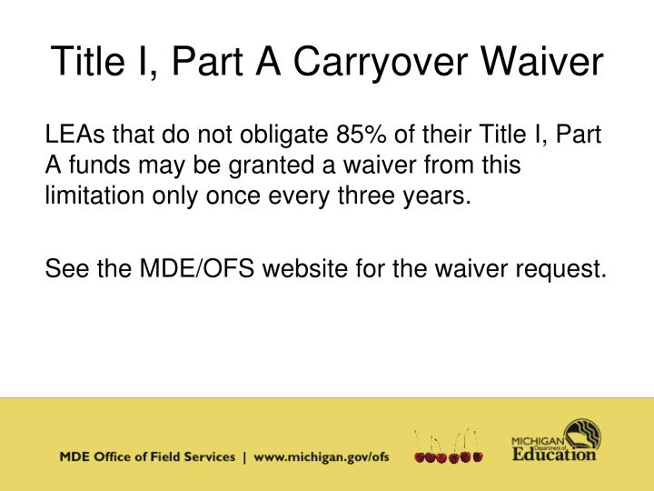 Title I, Part A Carryover Waiver