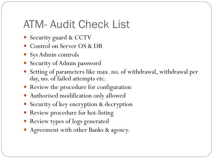 ATM- Audit Check List
