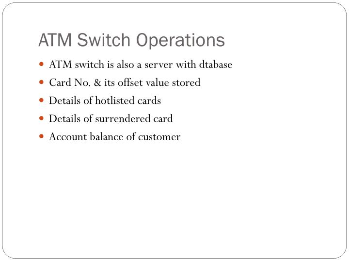 ATM Switch Operations