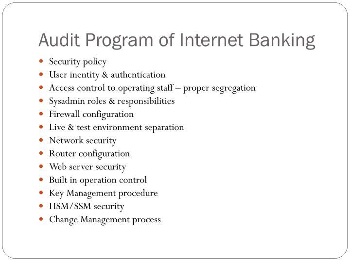Audit Program of Internet Banking