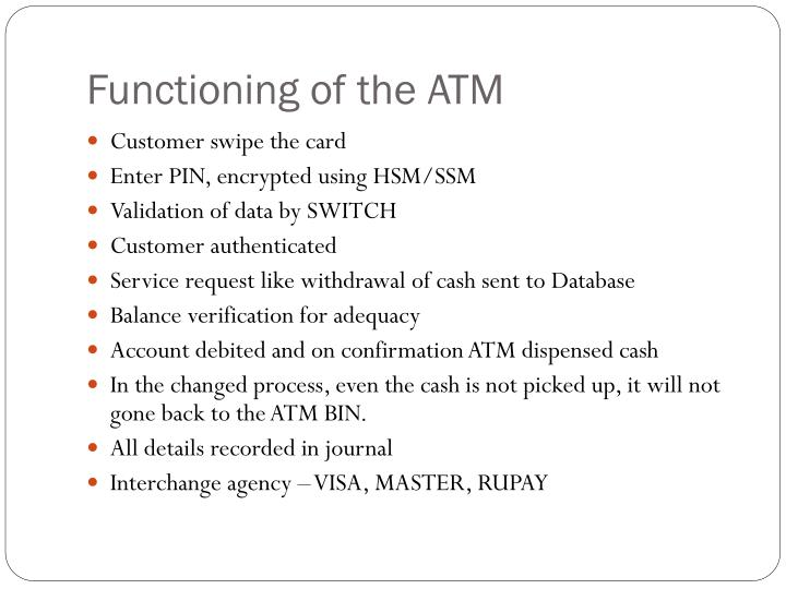 Functioning of the ATM