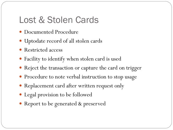 Lost & Stolen Cards