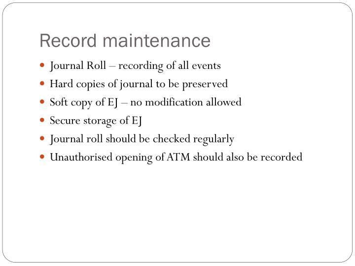 Record maintenance