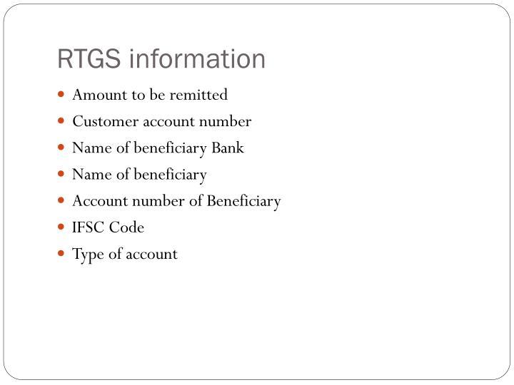 RTGS information