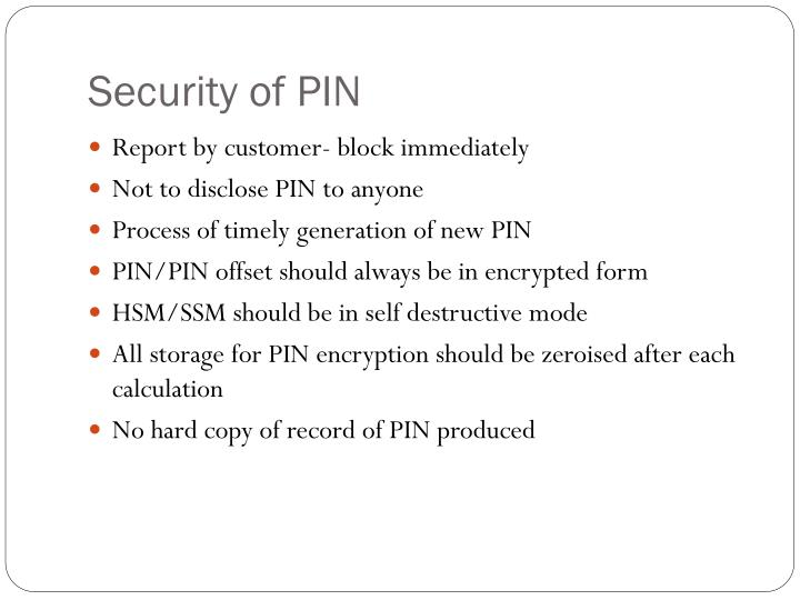 Security of PIN