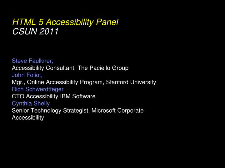 HTML 5 Accessibility Panel