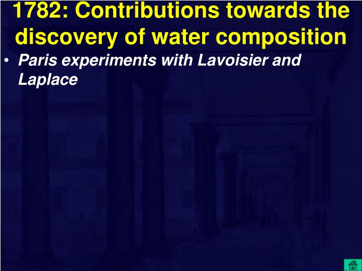 1782: Contributions towards the discovery of water composition