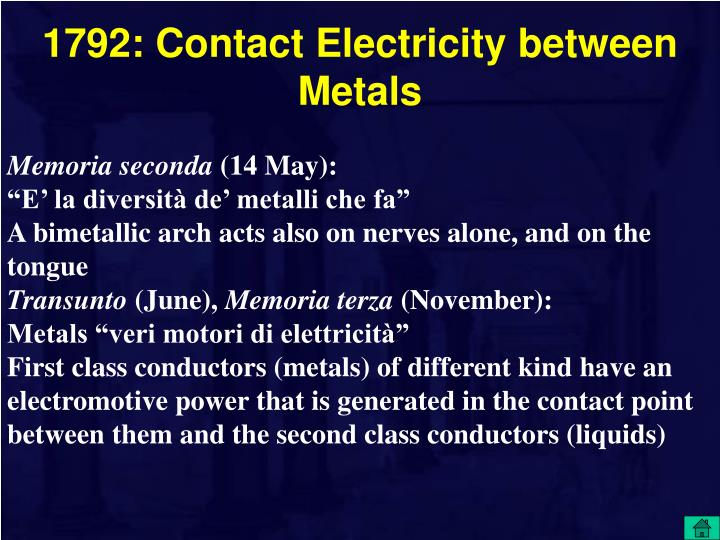 1792: Contact Electricity between Metals