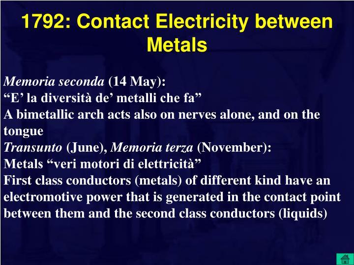 1792: Contact Electricity between Metals