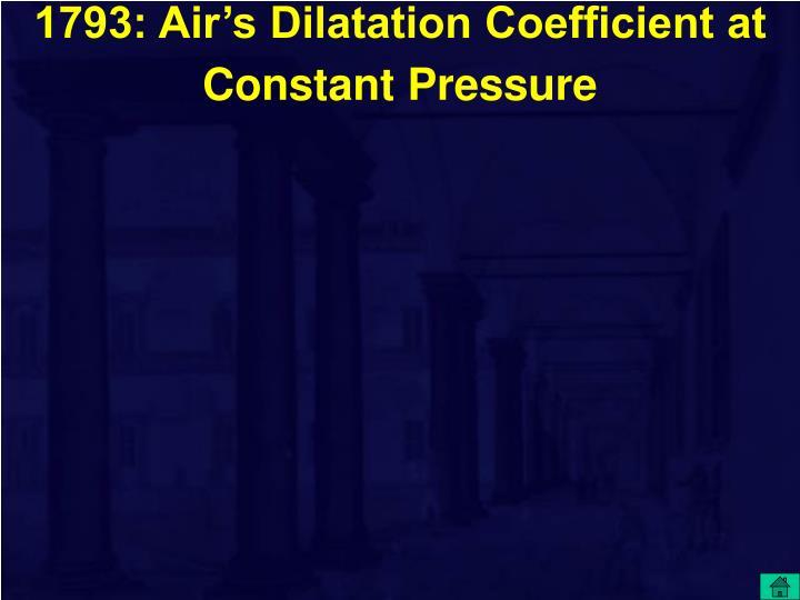 1793: Air's Dilatation Coefficient at Constant Pressure