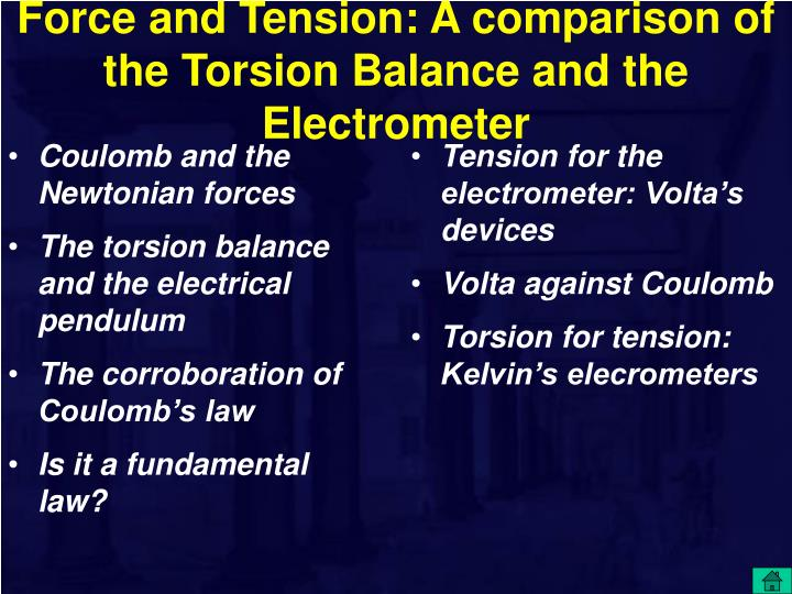 Force and Tension: A comparison of the Torsion Balance and the Electrometer