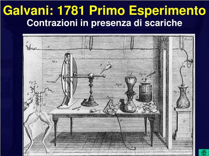 Galvani: 1781 Primo Esperimento