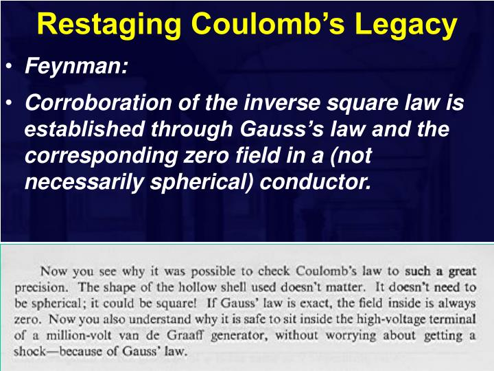 Restaging Coulomb's Legacy