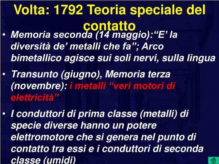 Volta: 1792 Teoria speciale del contatto