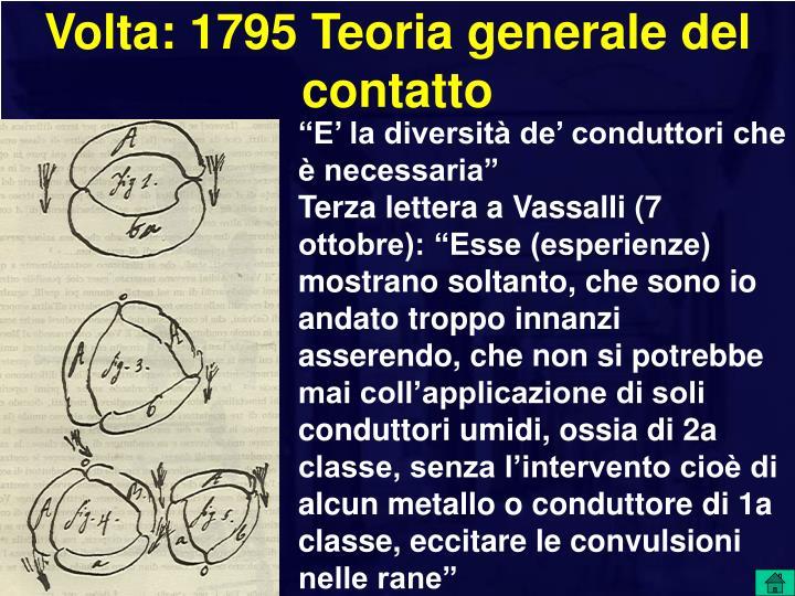 Volta: 1795 Teoria generale del contatto