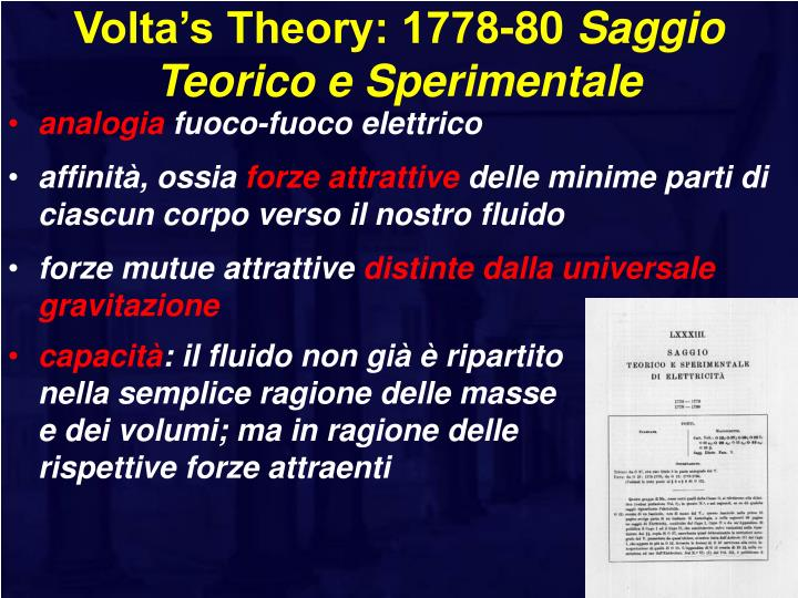 Volta's Theory: 1778-80