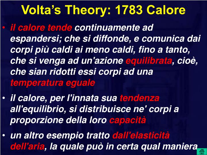 Volta's Theory: 1783 Calore