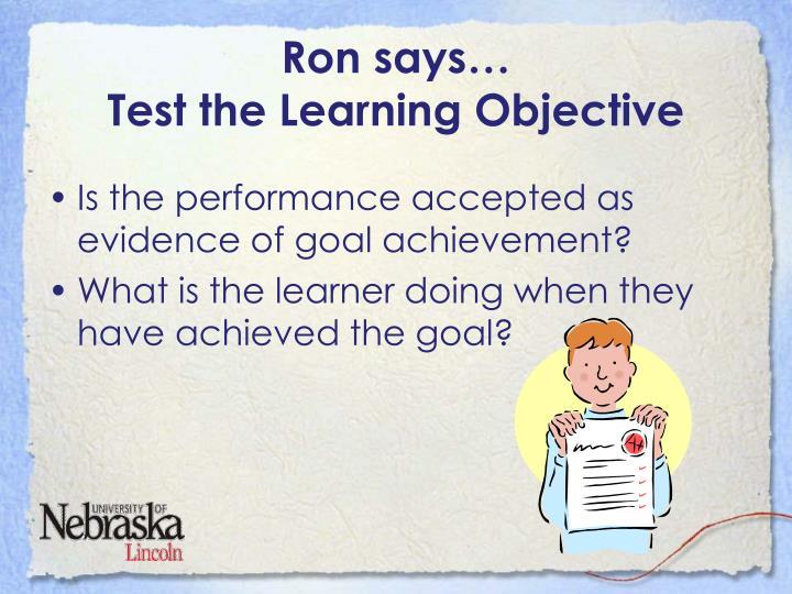 Ron says…