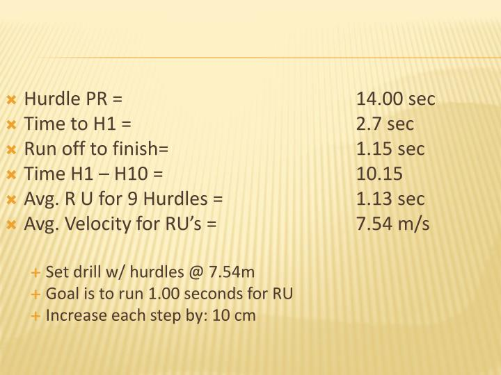 Hurdle PR = 14.00 sec