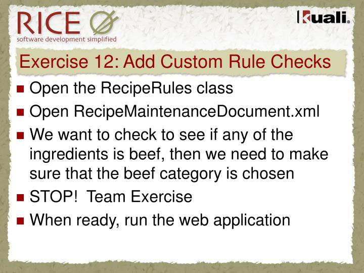 Exercise 12: Add Custom Rule Checks
